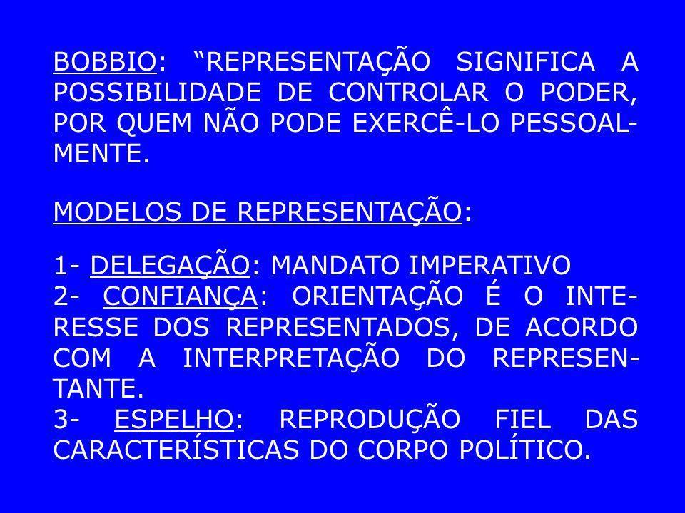 BOBBIO: REPRESENTAÇÃO SIGNIFICA A POSSIBILIDADE DE CONTROLAR O PODER, POR QUEM NÃO PODE EXERCÊ-LO PESSOAL-MENTE.