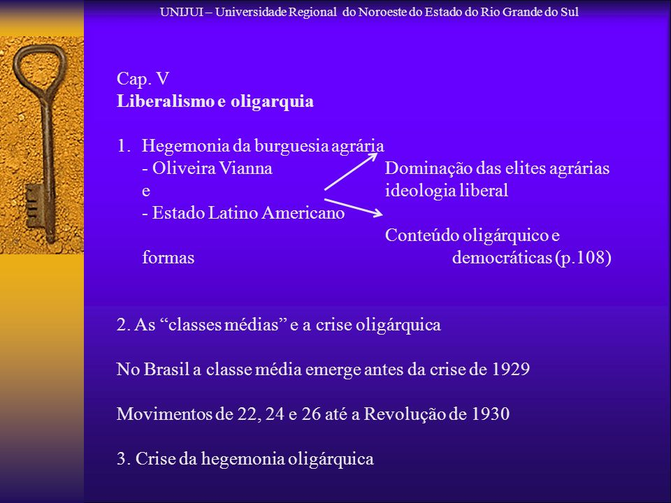 Liberalismo e oligarquia Hegemonia da burguesia agrária