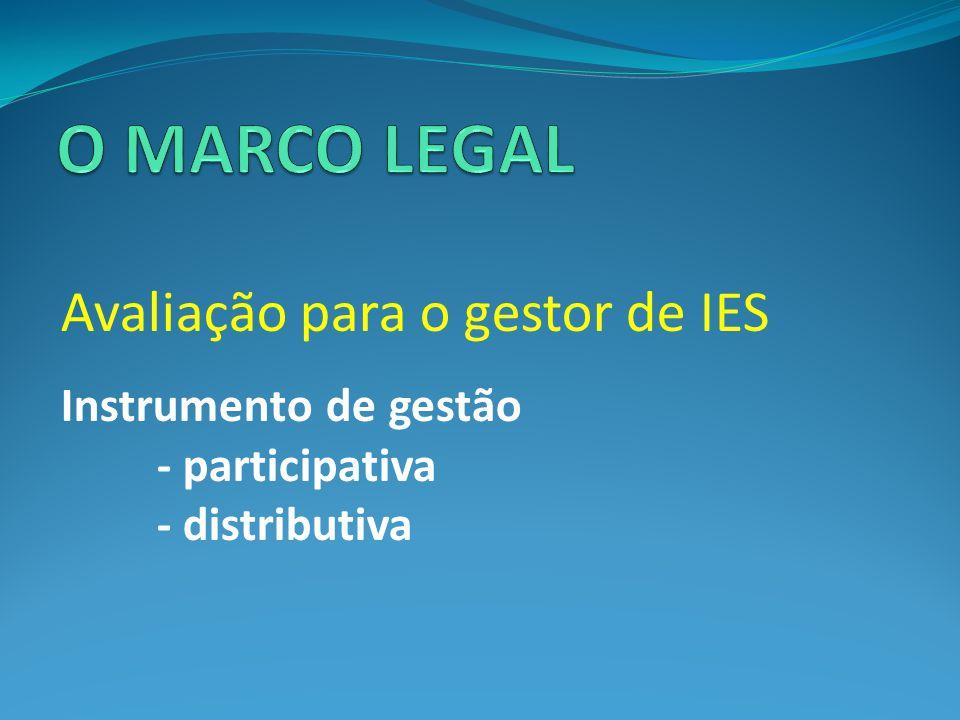 O MARCO LEGAL Avaliação para o gestor de IES Instrumento de gestão