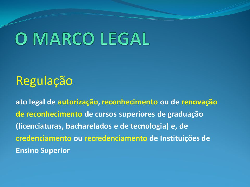O MARCO LEGAL Regulação: