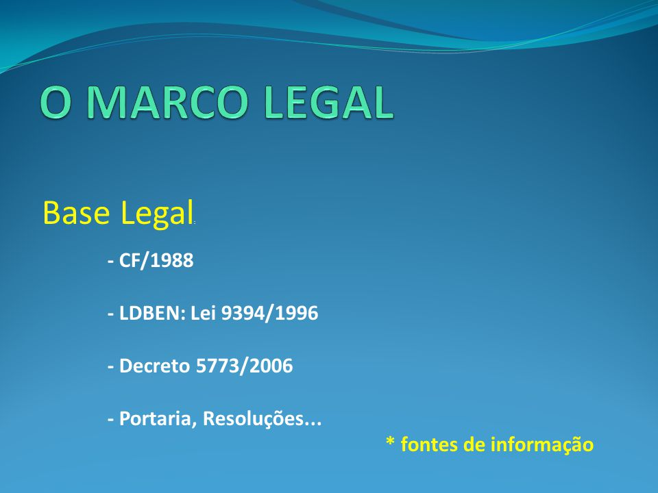 O MARCO LEGAL Base Legal: - CF/1988 - LDBEN: Lei 9394/1996