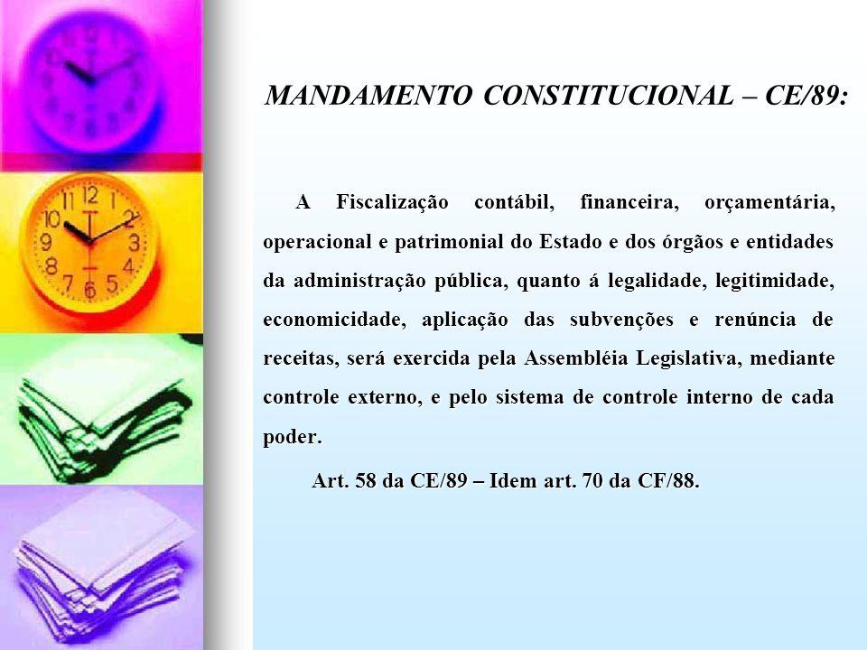MANDAMENTO CONSTITUCIONAL – CE/89: