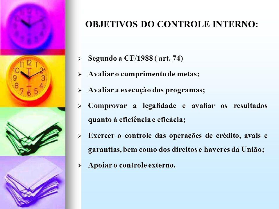 OBJETIVOS DO CONTROLE INTERNO: