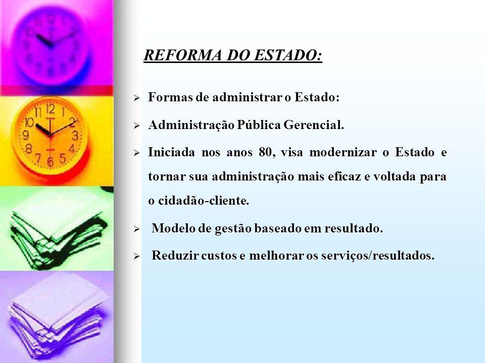 REFORMA DO ESTADO: Formas de administrar o Estado: