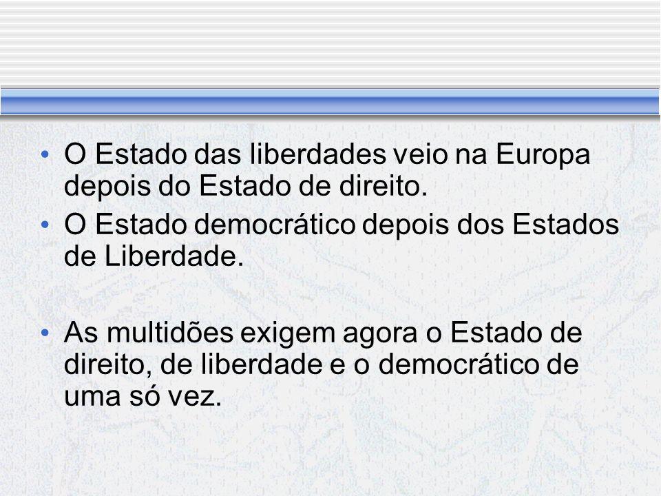 O Estado das liberdades veio na Europa depois do Estado de direito.