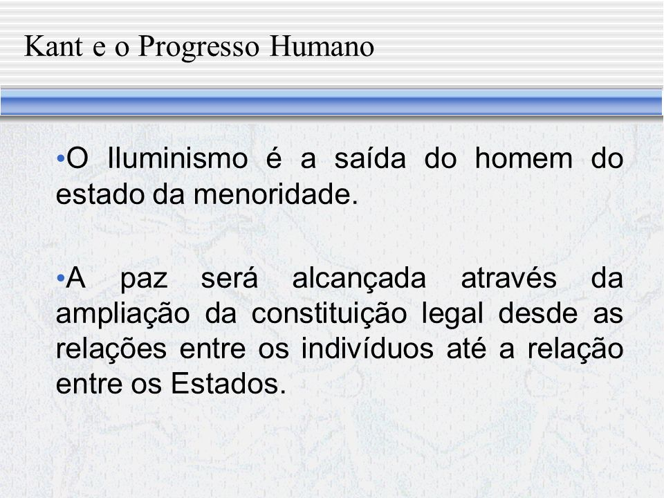 Kant e o Progresso Humano