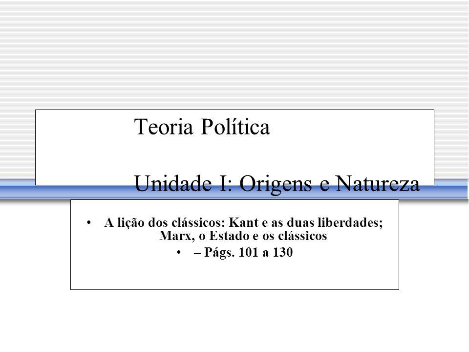 Teoria Política Unidade I: Origens e Natureza da Teoria Política