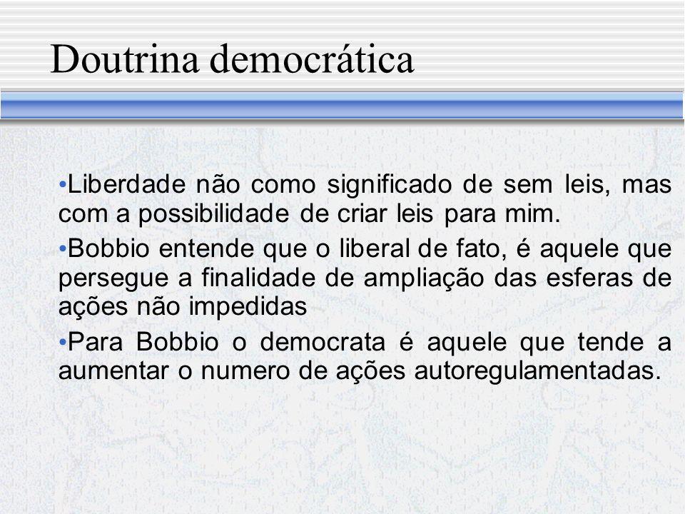 Doutrina democrática Liberdade não como significado de sem leis, mas com a possibilidade de criar leis para mim.