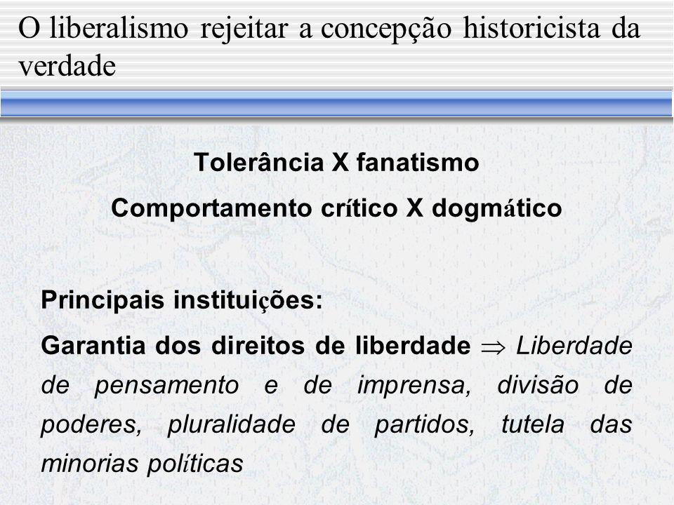 O liberalismo rejeitar a concepção historicista da verdade