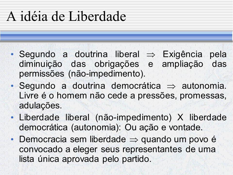 A idéia de Liberdade Segundo a doutrina liberal  Exigência pela diminuição das obrigações e ampliação das permissões (não-impedimento).