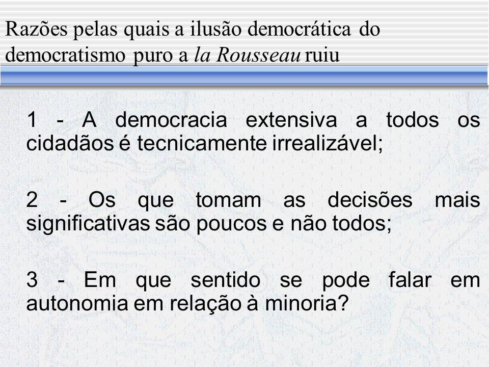 Razões pelas quais a ilusão democrática do democratismo puro a la Rousseau ruiu