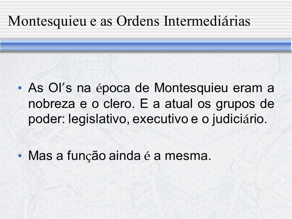 Montesquieu e as Ordens Intermediárias