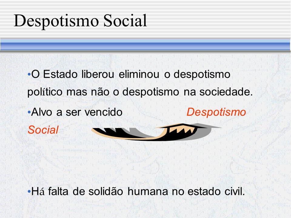 Despotismo Social O Estado liberou eliminou o despotismo político mas não o despotismo na sociedade.