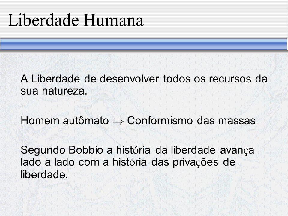 Liberdade Humana A Liberdade de desenvolver todos os recursos da sua natureza. Homem autômato  Conformismo das massas.