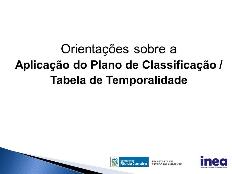 Aplicação do Plano de Classificação / Tabela de Temporalidade