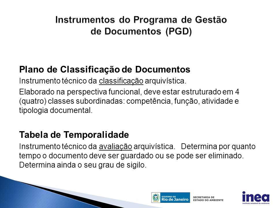 Instrumentos do Programa de Gestão de Documentos (PGD)