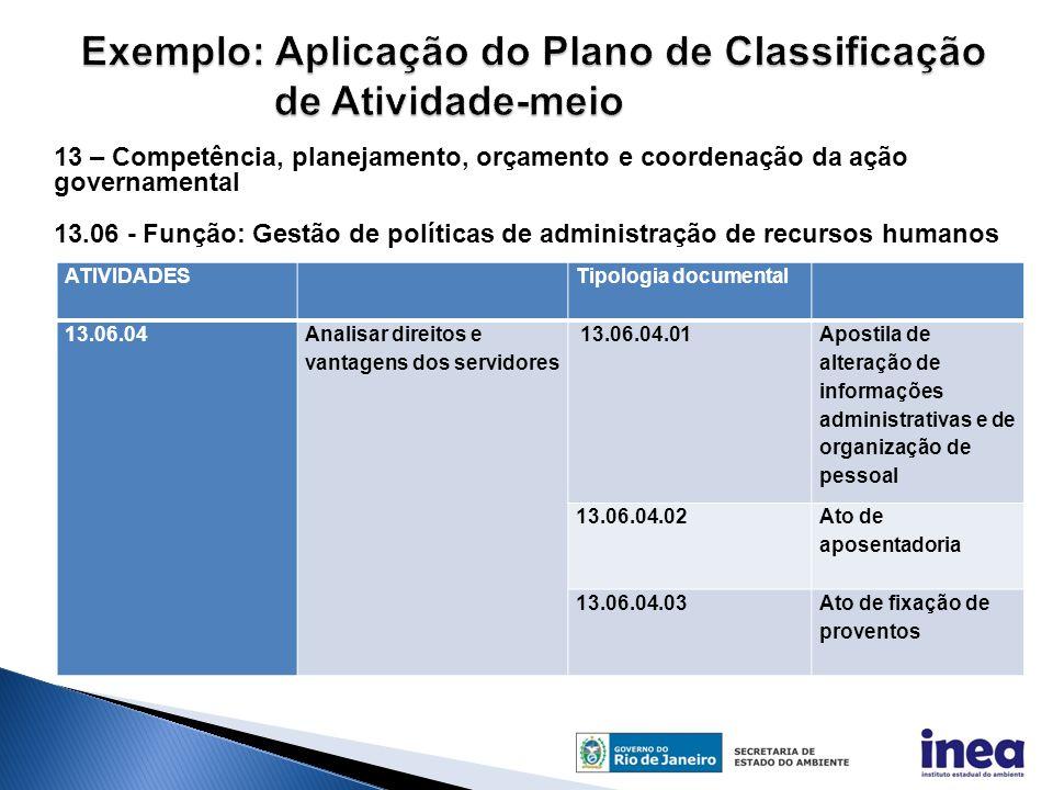 Exemplo: Aplicação do Plano de Classificação de Atividade-meio