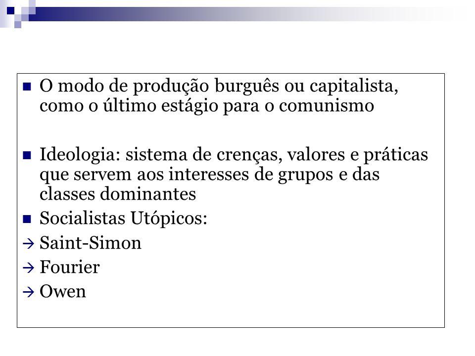 O modo de produção burguês ou capitalista, como o último estágio para o comunismo