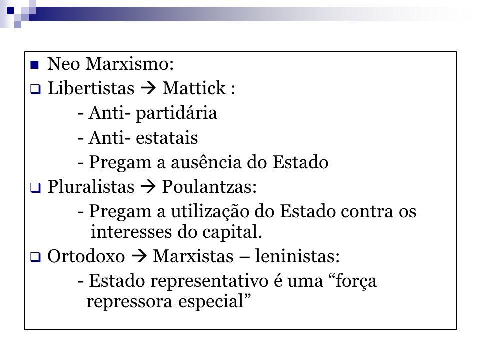Neo Marxismo: Libertistas  Mattick : - Anti- partidária. - Anti- estatais. - Pregam a ausência do Estado.