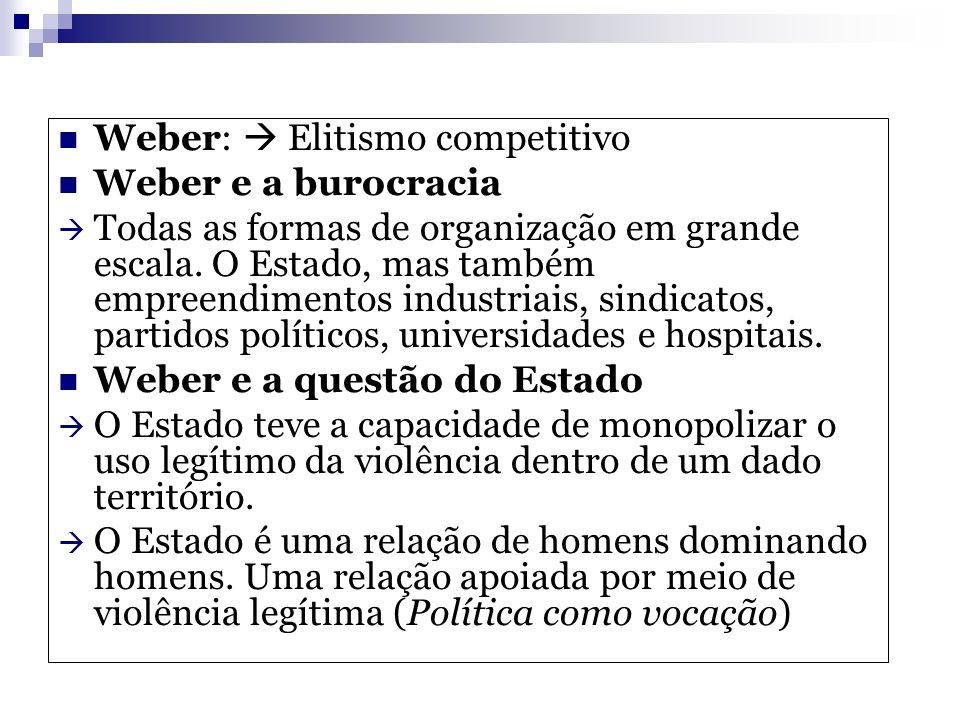 Weber:  Elitismo competitivo
