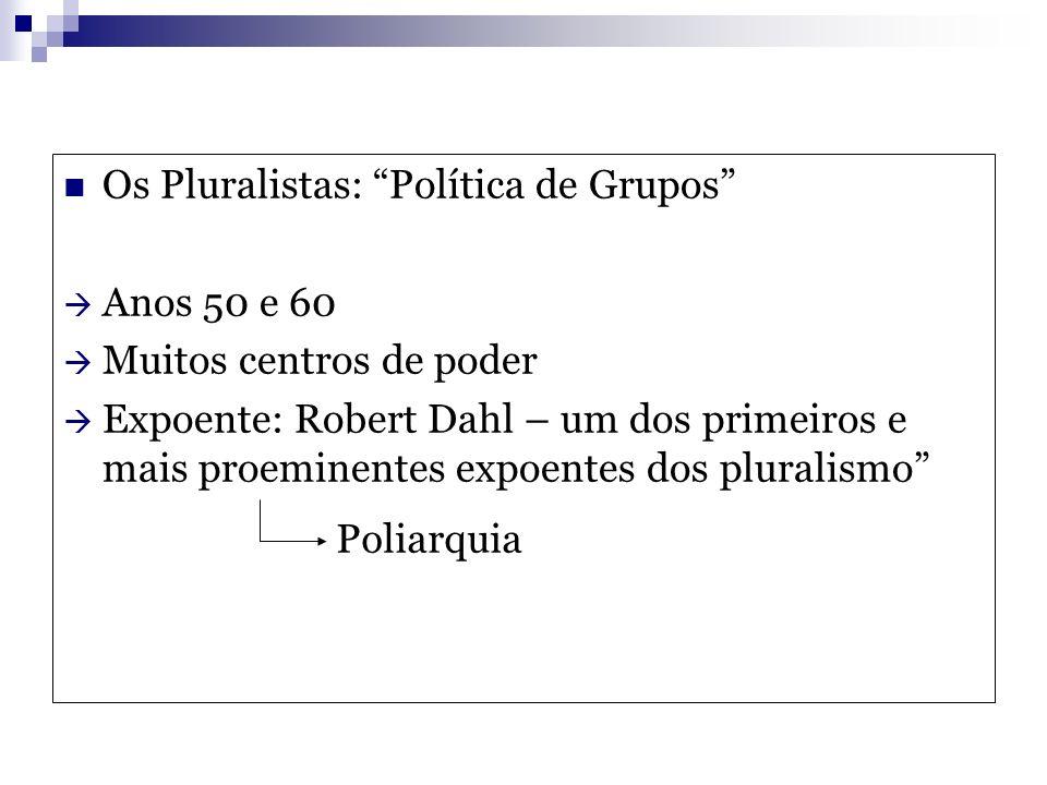 Os Pluralistas: Política de Grupos