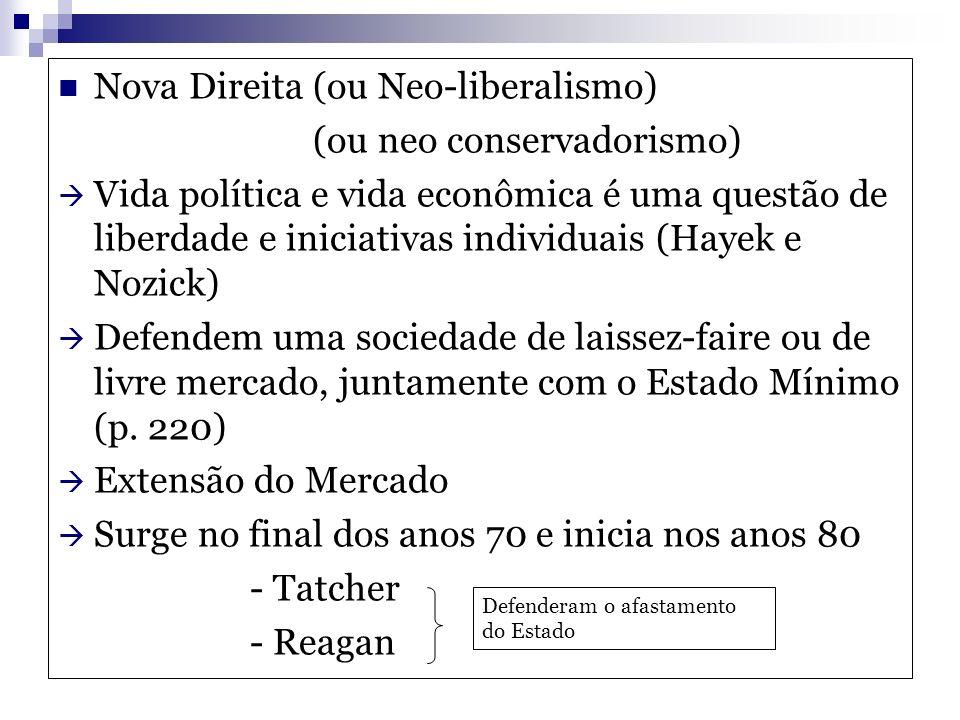 Nova Direita (ou Neo-liberalismo) (ou neo conservadorismo)