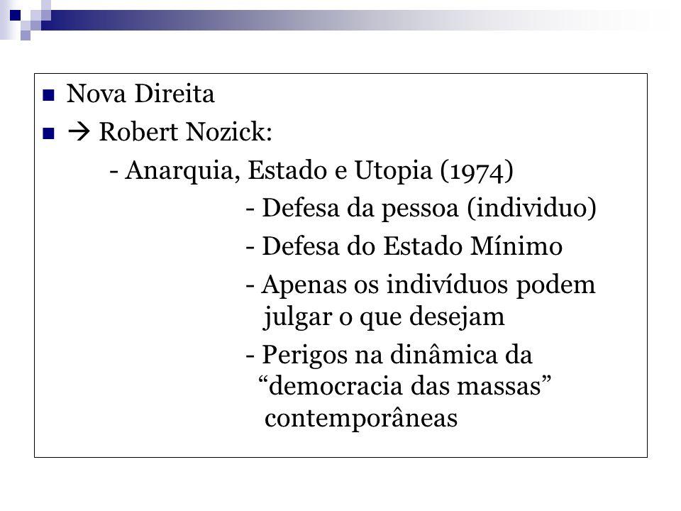 Nova Direita  Robert Nozick: - Anarquia, Estado e Utopia (1974) - Defesa da pessoa (individuo) - Defesa do Estado Mínimo.