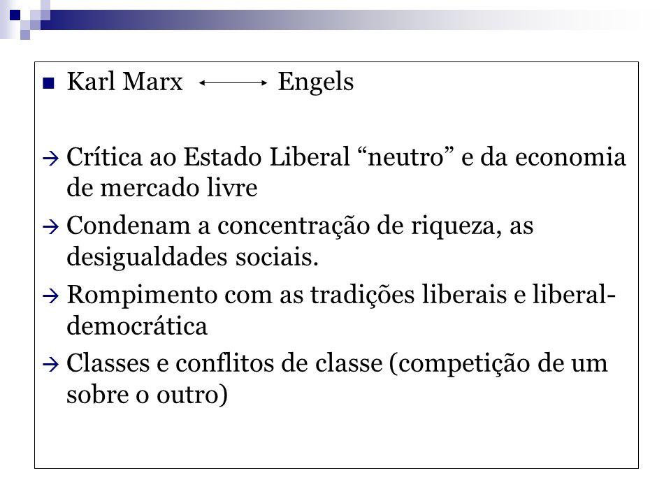 Karl Marx Engels Crítica ao Estado Liberal neutro e da economia de mercado livre.