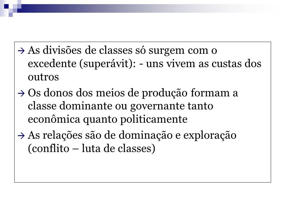 As divisões de classes só surgem com o excedente (superávit): - uns vivem as custas dos outros
