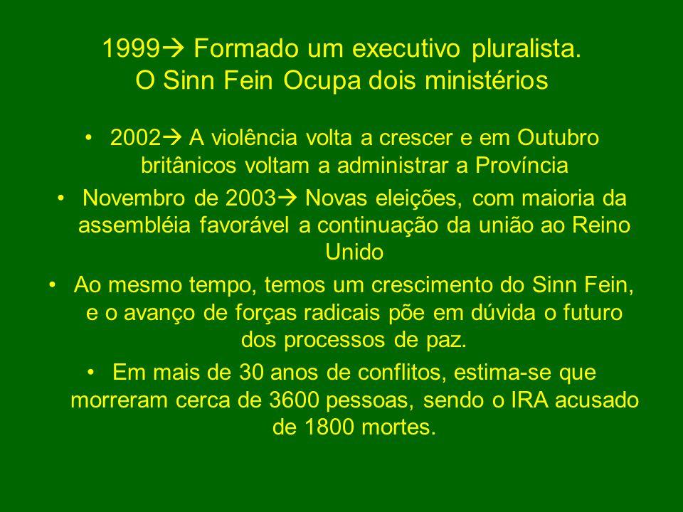 1999 Formado um executivo pluralista