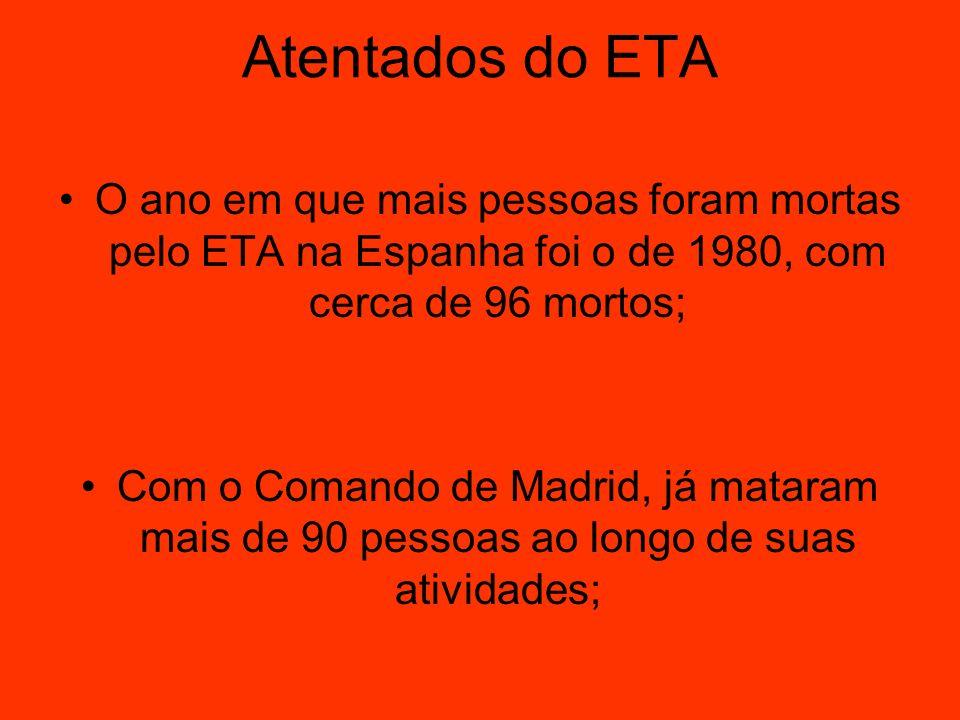 Atentados do ETA O ano em que mais pessoas foram mortas pelo ETA na Espanha foi o de 1980, com cerca de 96 mortos;