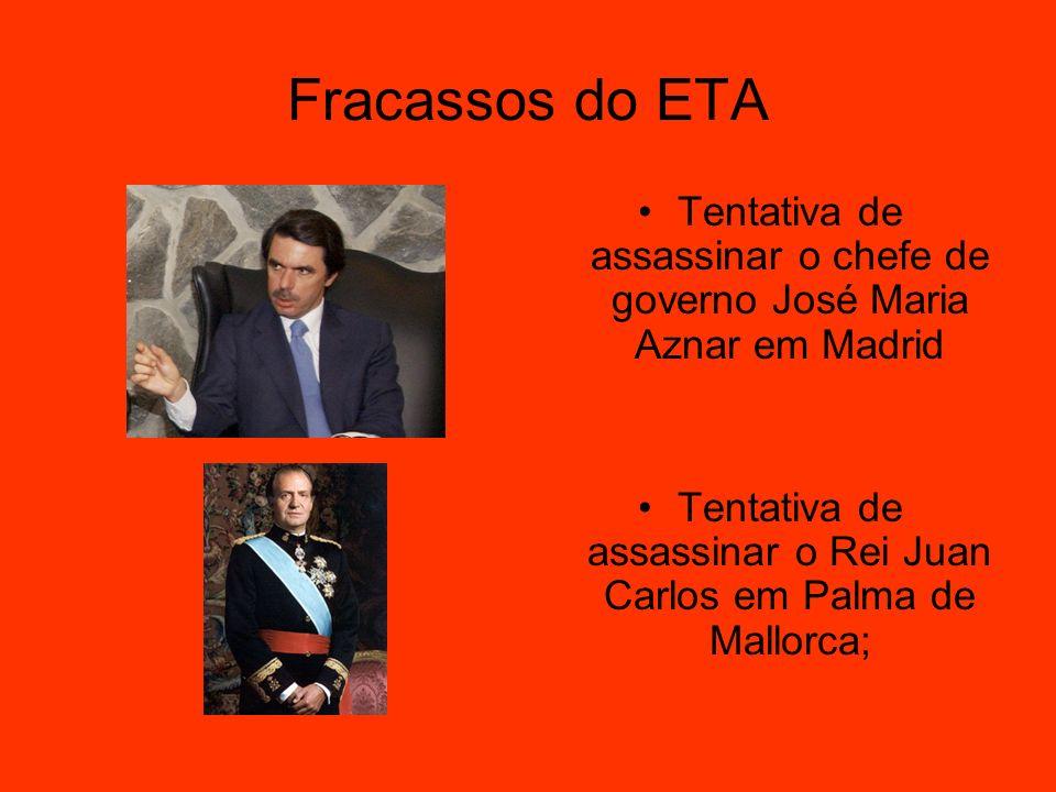 Fracassos do ETA Tentativa de assassinar o chefe de governo José Maria Aznar em Madrid.