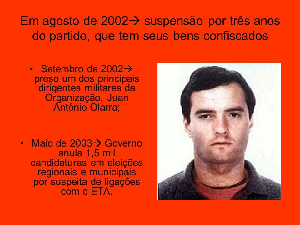 Em agosto de 2002 suspensão por três anos do partido, que tem seus bens confiscados