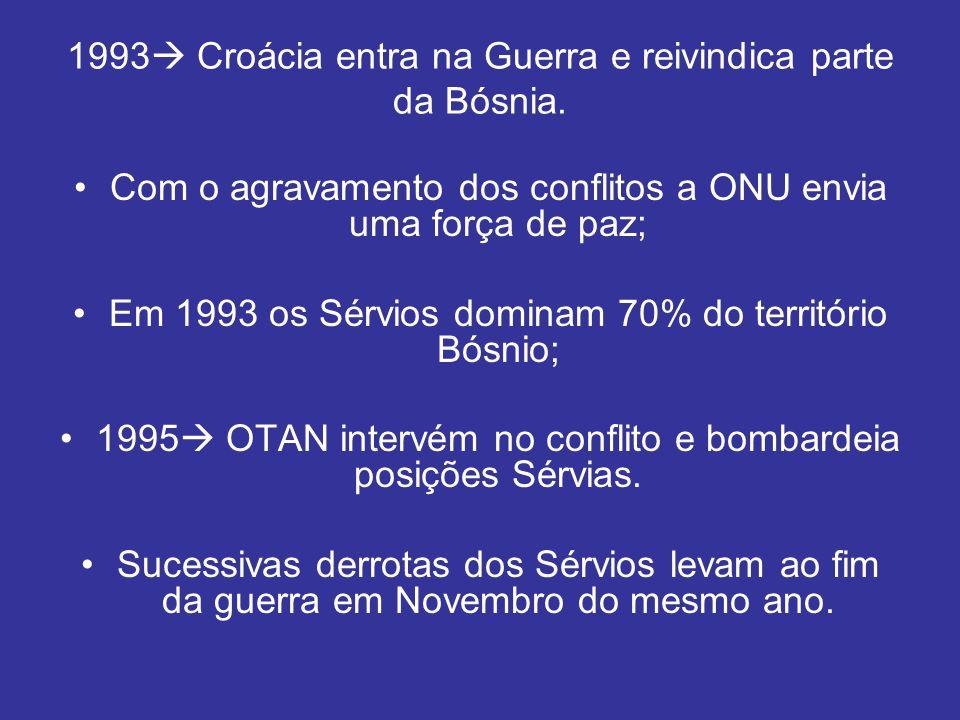 1993 Croácia entra na Guerra e reivindica parte da Bósnia.