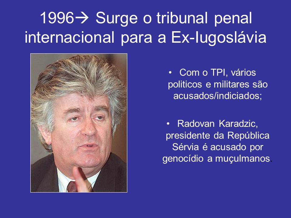 1996 Surge o tribunal penal internacional para a Ex-Iugoslávia