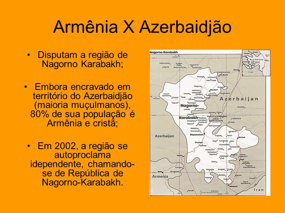 Disputam a região de Nagorno Karabakh;