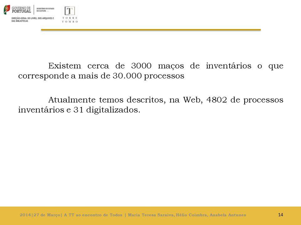 Existem cerca de 3000 maços de inventários o que corresponde a mais de 30.000 processos Atualmente temos descritos, na Web, 4802 de processos inventários e 31 digitalizados.