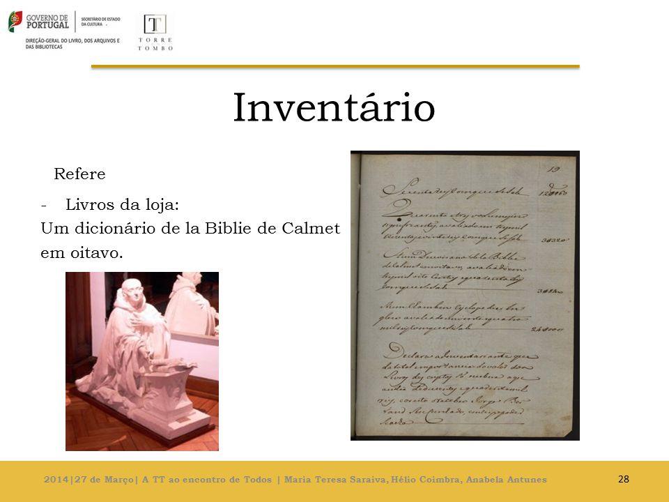 Inventário Refere Livros da loja: Um dicionário de la Biblie de Calmet