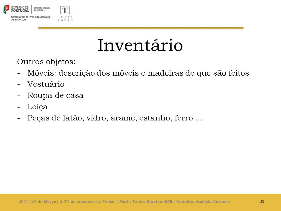 Inventário Outros objetos: