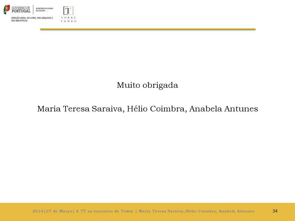 Muito obrigada Maria Teresa Saraiva, Hélio Coimbra, Anabela Antunes