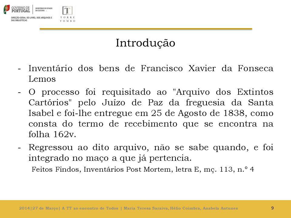 Introdução Inventário dos bens de Francisco Xavier da Fonseca Lemos