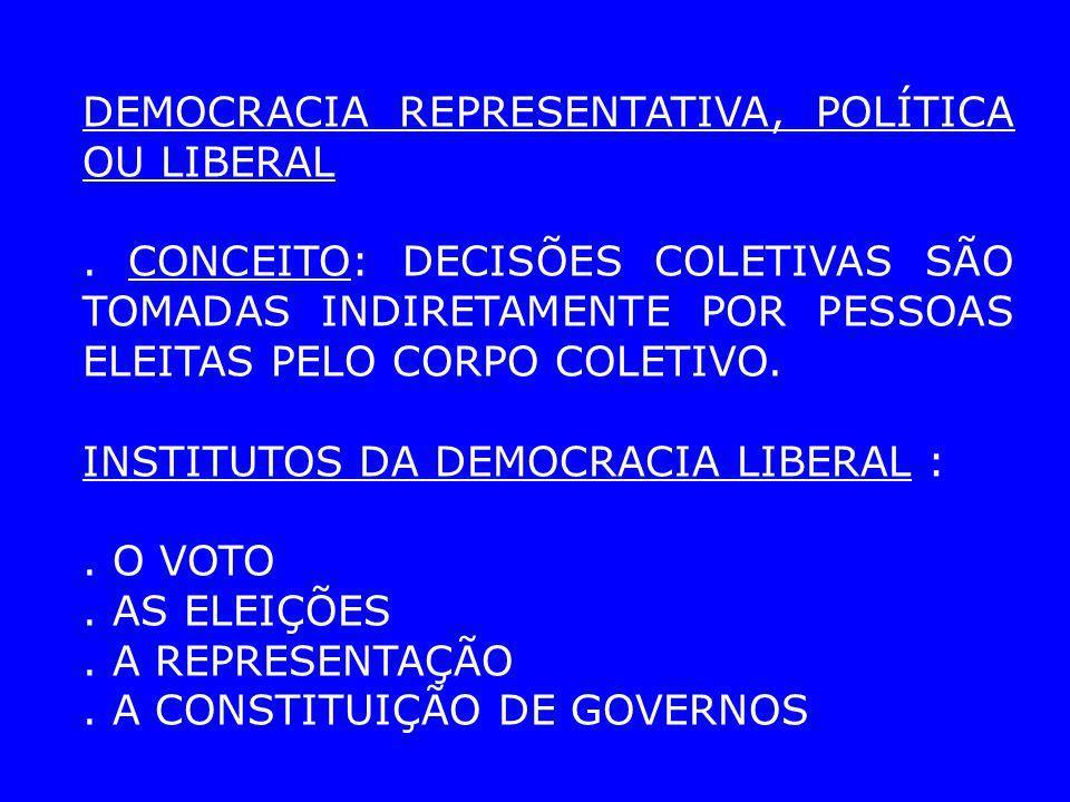DEMOCRACIA REPRESENTATIVA, POLÍTICA OU LIBERAL