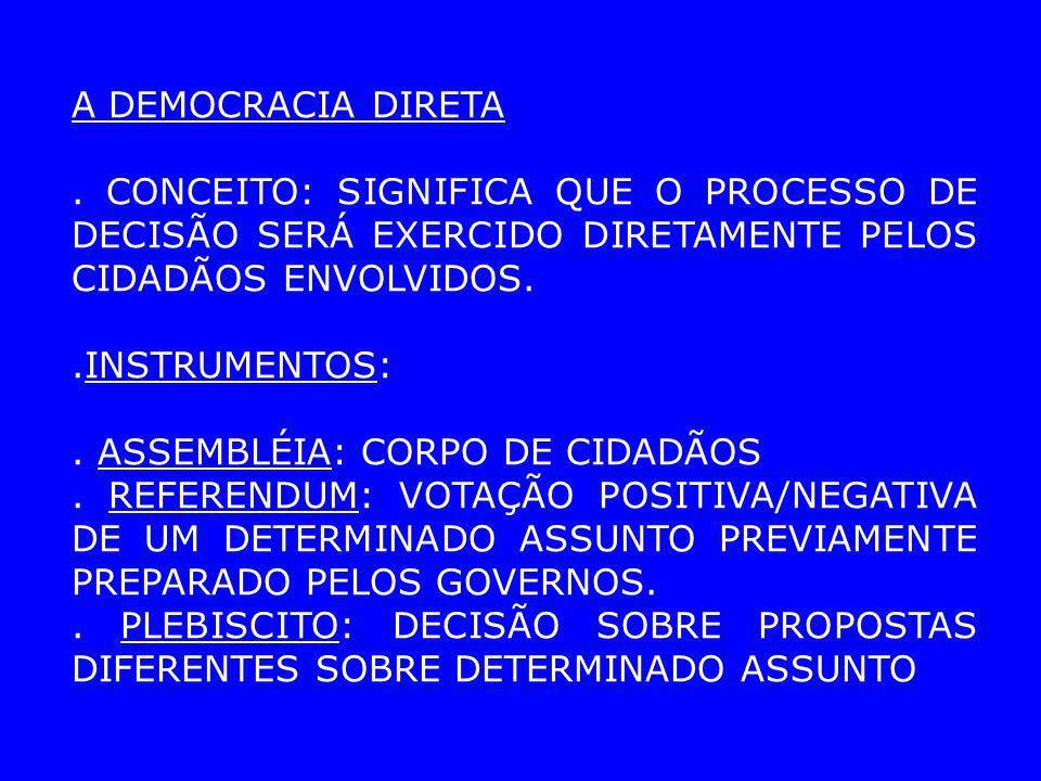 A DEMOCRACIA DIRETA . CONCEITO: SIGNIFICA QUE O PROCESSO DE DECISÃO SERÁ EXERCIDO DIRETAMENTE PELOS CIDADÃOS ENVOLVIDOS.