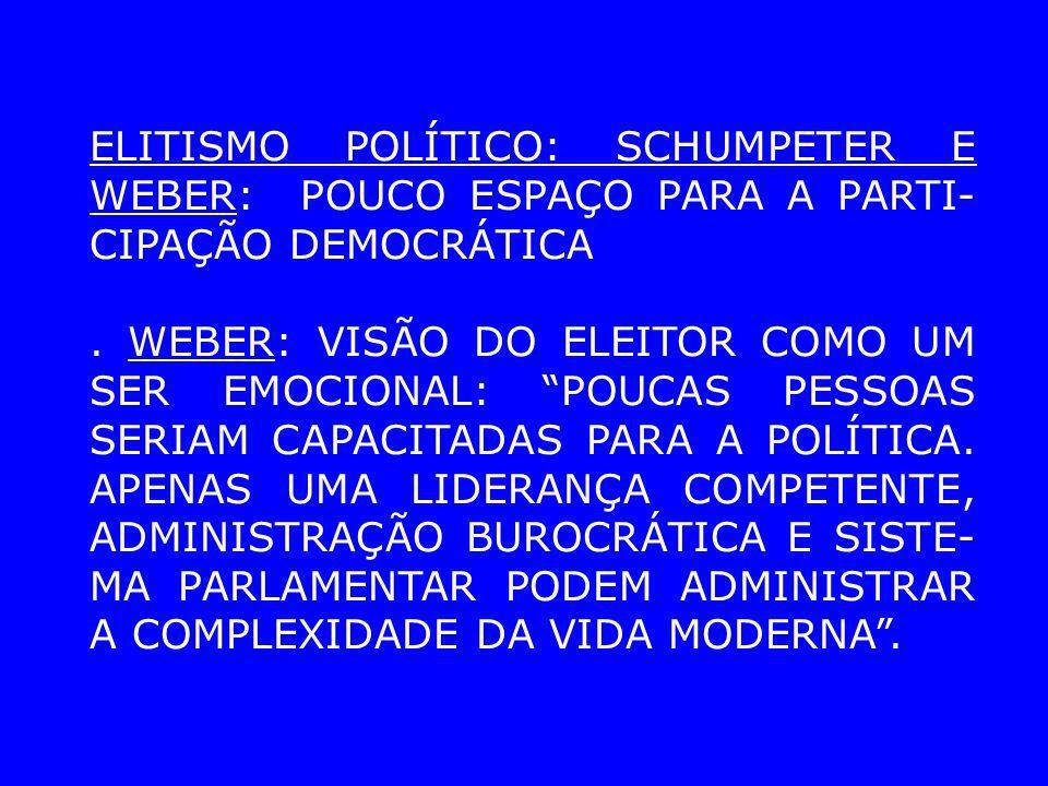 ELITISMO POLÍTICO: SCHUMPETER E WEBER: POUCO ESPAÇO PARA A PARTI-CIPAÇÃO DEMOCRÁTICA
