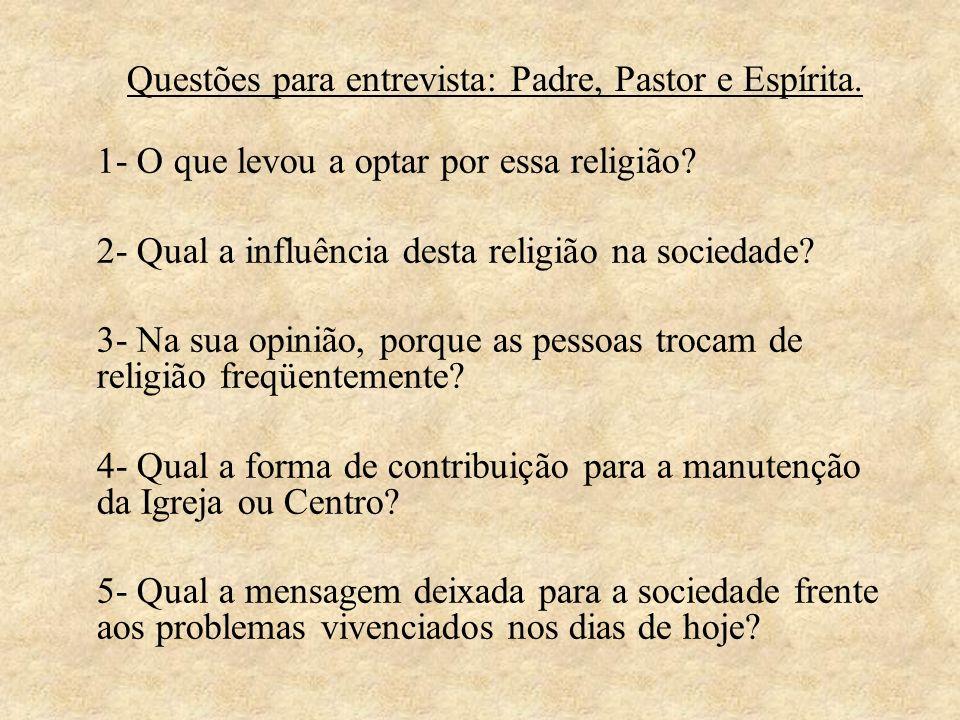 Questões para entrevista: Padre, Pastor e Espírita.