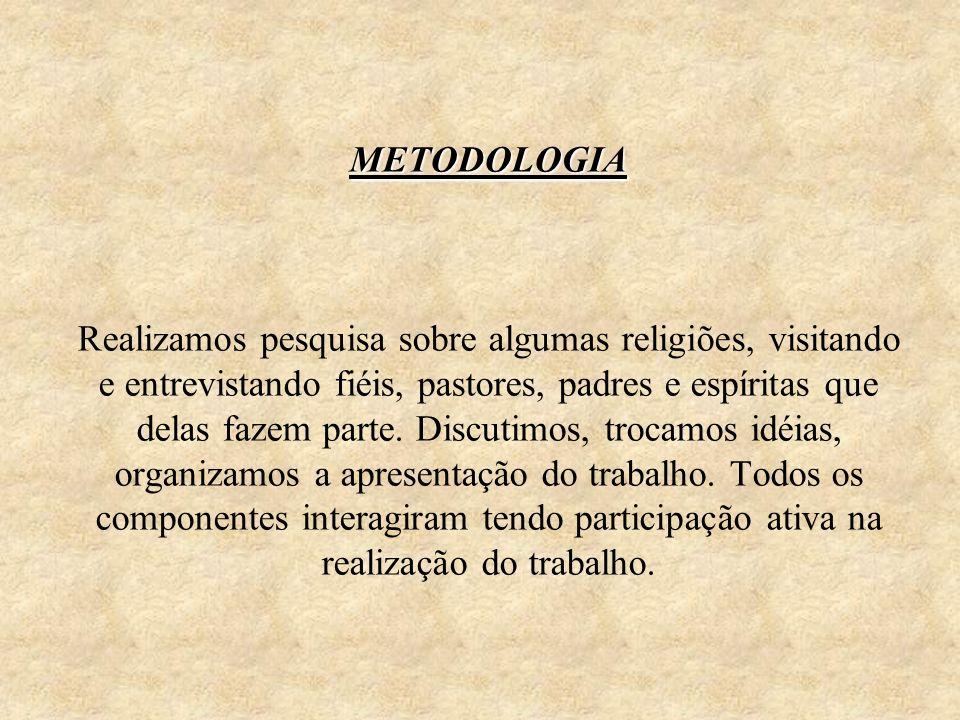 METODOLOGIA Realizamos pesquisa sobre algumas religiões, visitando e entrevistando fiéis, pastores, padres e espíritas que delas fazem parte.