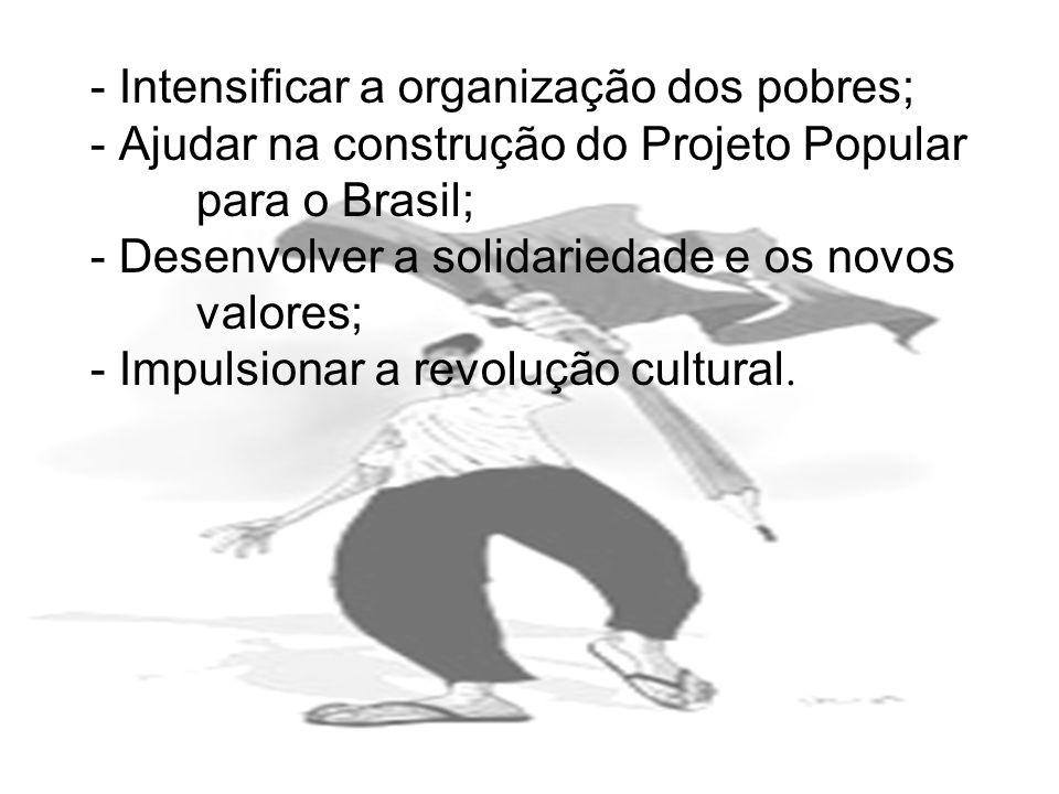 - Intensificar a organização dos pobres; - Ajudar na construção do Projeto Popular para o Brasil; - Desenvolver a solidariedade e os novos valores; - Impulsionar a revolução cultural.