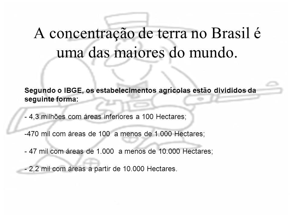 A concentração de terra no Brasil é uma das maiores do mundo.