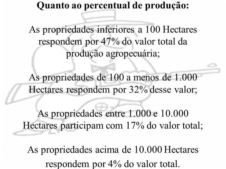 Quanto ao percentual de produção: As propriedades inferiores a 100 Hectares respondem por 47% do valor total da produção agropecuária; As propriedades de 100 a menos de 1.000 Hectares respondem por 32% desse valor; As propriedades entre 1.000 e 10.000 Hectares participam com 17% do valor total; As propriedades acima de 10.000 Hectares respondem por 4% do valor total.