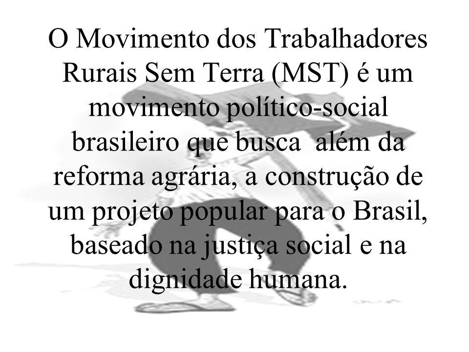 O Movimento dos Trabalhadores Rurais Sem Terra (MST) é um movimento político-social brasileiro que busca além da reforma agrária, a construção de um projeto popular para o Brasil, baseado na justiça social e na dignidade humana.